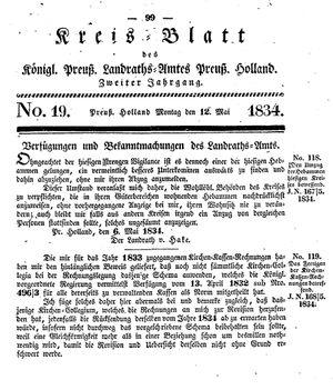 Kreisblatt des Königl. Preuss. Landraths-Amtes Preuss. Holland vom 12.05.1834