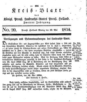 Kreisblatt des Königl. Preuss. Landraths-Amtes Preuss. Holland vom 19.05.1834
