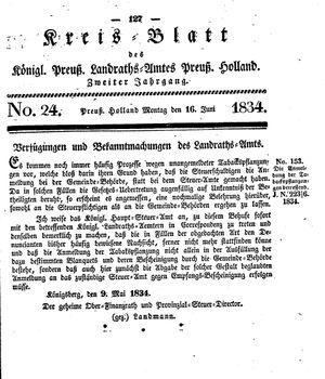 Kreisblatt des Königl. Preuss. Landraths-Amtes Preuss. Holland vom 16.06.1834