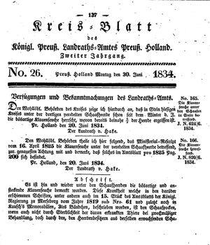 Kreisblatt des Königl. Preuss. Landraths-Amtes Preuss. Holland vom 30.06.1834