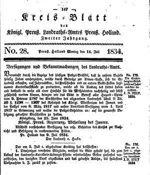 Kreisblatt des Königl. Preuss. Landraths-Amtes Preuss. Holland vom 14.07.1834