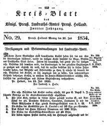 Kreisblatt des Königl. Preuss. Landraths-Amtes Preuss. Holland (21.07.1834)