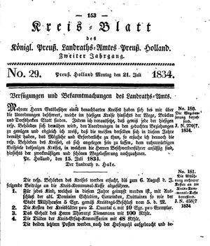Kreisblatt des Königl. Preuss. Landraths-Amtes Preuss. Holland vom 21.07.1834