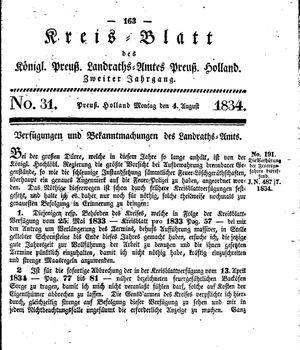 Kreisblatt des Königl. Preuss. Landraths-Amtes Preuss. Holland vom 04.08.1834