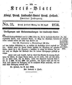 Kreisblatt des Königl. Preuss. Landraths-Amtes Preuss. Holland vom 18.08.1834