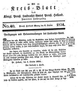 Kreisblatt des Königl. Preuss. Landraths-Amtes Preuss. Holland vom 06.10.1834