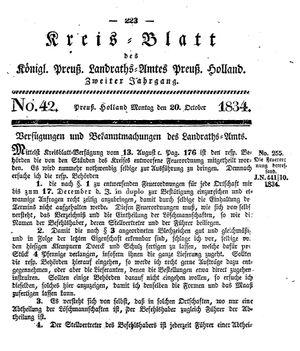 Kreisblatt des Königl. Preuss. Landraths-Amtes Preuss. Holland vom 20.10.1834