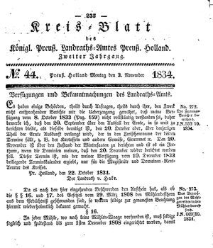 Kreisblatt des Königl. Preuss. Landraths-Amtes Preuss. Holland vom 03.11.1834