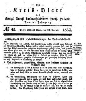 Kreisblatt des Königl. Preuss. Landraths-Amtes Preuss. Holland vom 10.11.1834