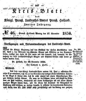 Kreisblatt des Königl. Preuss. Landraths-Amtes Preuss. Holland vom 17.11.1834
