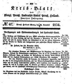 Kreisblatt des Königl. Preuss. Landraths-Amtes Preuss. Holland vom 24.11.1834