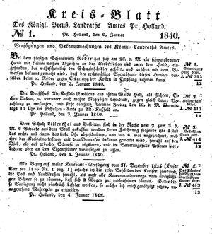 Kreisblatt des Königl. Preuss. Landraths-Amtes Preuss. Holland on Jan 6, 1840