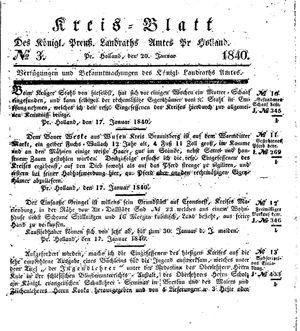 Kreisblatt des Königl. Preuss. Landraths-Amtes Preuss. Holland vom 20.01.1840