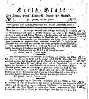 Kreisblatt des Königl. Preuss. Landraths-Amtes Preuss. Holland vom 10.02.1840