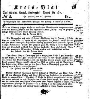 Kreisblatt des Königl. Preuss. Landraths-Amtes Preuss. Holland vom 17.02.1840
