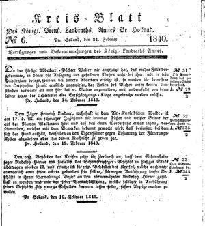 Kreisblatt des Königl. Preuss. Landraths-Amtes Preuss. Holland vom 24.02.1840