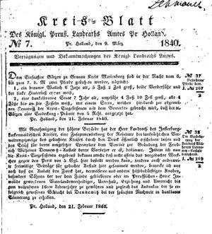 Kreisblatt des Königl. Preuss. Landraths-Amtes Preuss. Holland vom 09.03.1840