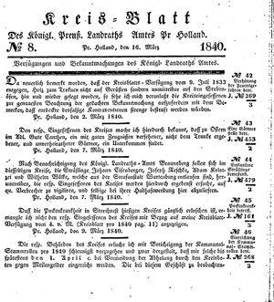 Kreisblatt des Königl. Preuss. Landraths-Amtes Preuss. Holland vom 16.03.1840
