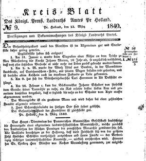 Kreisblatt des Königl. Preuss. Landraths-Amtes Preuss. Holland vom 23.03.1840
