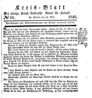 Kreisblatt des Königl. Preuss. Landraths-Amtes Preuss. Holland vom 30.03.1840