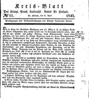 Kreisblatt des Königl. Preuss. Landraths-Amtes Preuss. Holland vom 06.04.1840