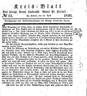 Kreisblatt des Königl. Preuss. Landraths-Amtes Preuss. Holland vom 13.04.1840