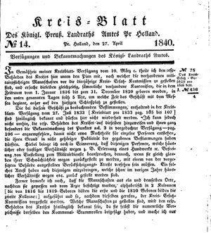 Kreisblatt des Königl. Preuss. Landraths-Amtes Preuss. Holland vom 27.04.1840