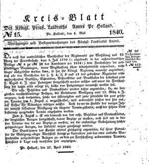 Kreisblatt des Königl. Preuss. Landraths-Amtes Preuss. Holland vom 04.05.1840