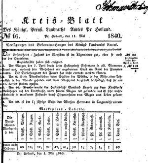Kreisblatt des Königl. Preuss. Landraths-Amtes Preuss. Holland vom 11.05.1840