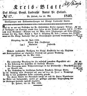 Kreisblatt des Königl. Preuss. Landraths-Amtes Preuss. Holland vom 18.05.1840