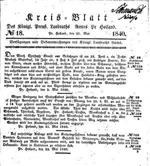 Kreisblatt des Königl. Preuss. Landraths-Amtes Preuss. Holland vom 25.05.1840