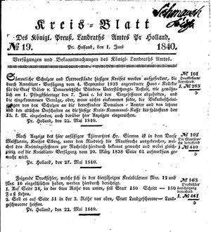 Kreisblatt des Königl. Preuss. Landraths-Amtes Preuss. Holland vom 01.06.1840