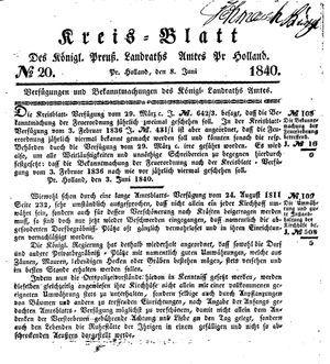 Kreisblatt des Königl. Preuss. Landraths-Amtes Preuss. Holland on Jun 8, 1840