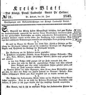 Kreisblatt des Königl. Preuss. Landraths-Amtes Preuss. Holland vom 22.06.1840