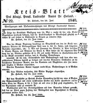 Kreisblatt des Königl. Preuss. Landraths-Amtes Preuss. Holland vom 29.06.1840