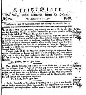 Kreisblatt des Königl. Preuss. Landraths-Amtes Preuss. Holland vom 13.07.1840