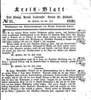 Kreisblatt des Königl. Preuss. Landraths-Amtes Preuss. Holland vom 20.07.1840