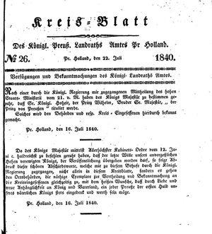 Kreisblatt des Königl. Preuss. Landraths-Amtes Preuss. Holland vom 22.07.1840