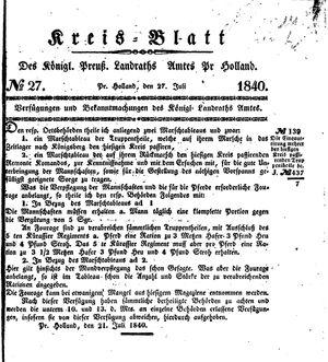 Kreisblatt des Königl. Preuss. Landraths-Amtes Preuss. Holland vom 27.07.1840
