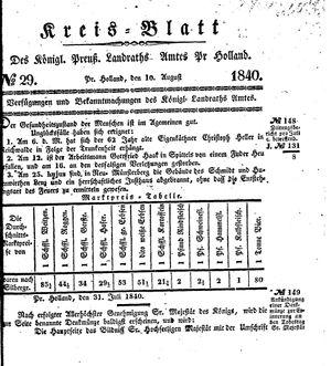 Kreisblatt des Königl. Preuss. Landraths-Amtes Preuss. Holland vom 10.08.1840