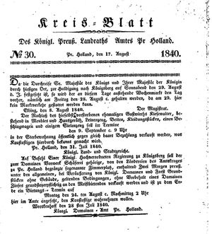 Kreisblatt des Königl. Preuss. Landraths-Amtes Preuss. Holland vom 17.08.1840