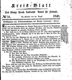 Kreisblatt des Königl. Preuss. Landraths-Amtes Preuss. Holland on Aug 24, 1840