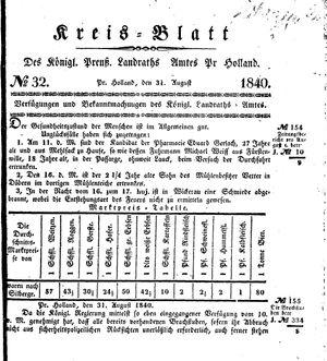 Kreisblatt des Königl. Preuss. Landraths-Amtes Preuss. Holland vom 31.08.1840