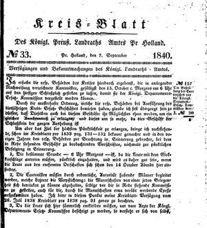 Kreisblatt des Königl. Preuss. Landraths-Amtes Preuss. Holland vom 07.09.1840