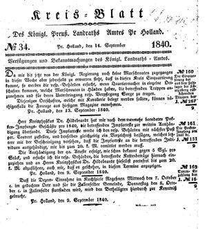 Kreisblatt des Königl. Preuss. Landraths-Amtes Preuss. Holland vom 14.09.1840