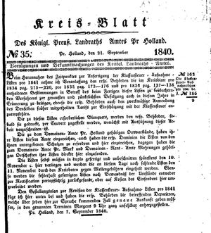 Kreisblatt des Königl. Preuss. Landraths-Amtes Preuss. Holland vom 21.09.1840