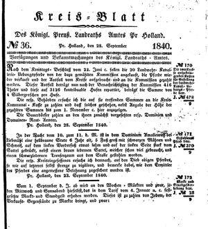 Kreisblatt des Königl. Preuss. Landraths-Amtes Preuss. Holland vom 28.09.1840