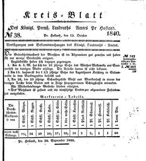 Kreisblatt des Königl. Preuss. Landraths-Amtes Preuss. Holland vom 12.10.1840