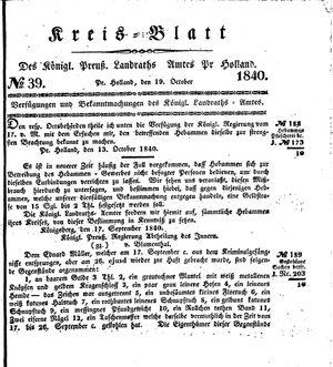 Kreisblatt des Königl. Preuss. Landraths-Amtes Preuss. Holland vom 19.10.1840