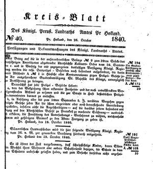 Kreisblatt des Königl. Preuss. Landraths-Amtes Preuss. Holland vom 26.10.1840